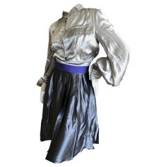 Gianfranco Ferre Poet Sleeve Gray Silk Dress with Blue Band Belt