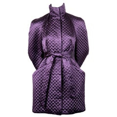 Alexander McQueen purple satin quilted runway coat, 2007