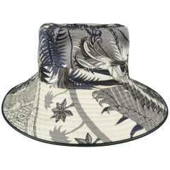 HERMES Hat - Black & White 'MYTHIQUES PHOENIX' Print Silk Beach Butcket Hat