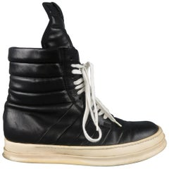 RICK OWENS Size 11 Black Leather High Top Boot Sneakers Trainers