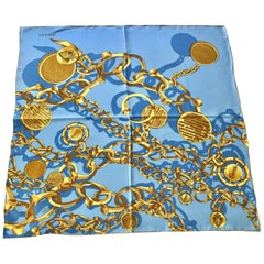 GUCCI Blue and Gold Chainlink Print Silk Scarf