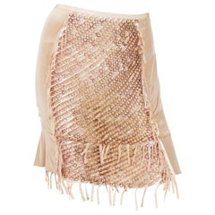 Tom Ford for Gucci Runway Sheer Nude Rings Ribbon Mini Skirt, S / S 2004