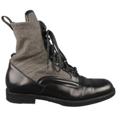 JIMMY CHOO Boots -  Men's Size 8.5 Black & Grey Wool & Leather Combat / Shoes