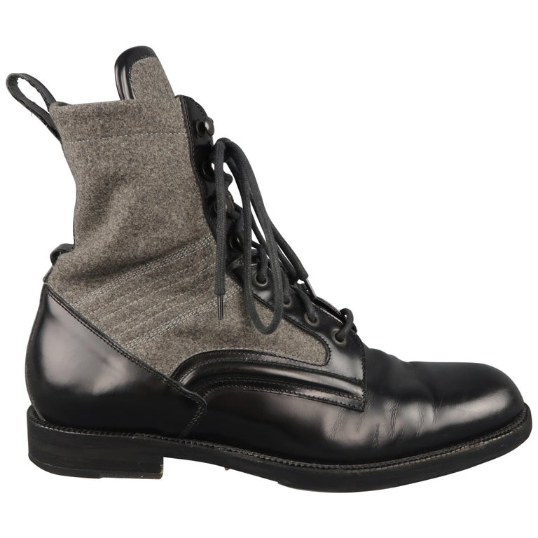 09c6e2ad9b2 JIMMY CHOO Boots - Men s Size 8.5 Black   Grey Wool   Leather Combat   Shoes