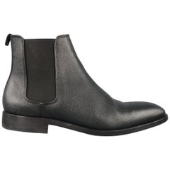 PS by PAUL SMITH Size 8 Black Pebbled Leather Chelsea Ankle Boots