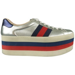GUCCI Size 8 Silver Metallic Leather Striped Platform Sneakers Shoes