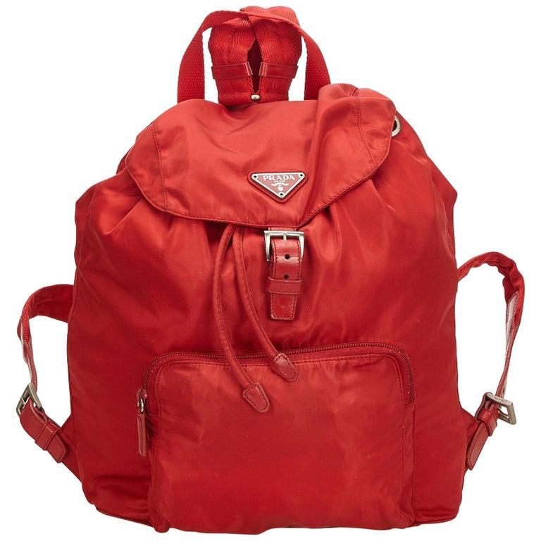 9eae045cd0a4 Prada Red Nylon Drawstring Backpack For Sale at 1stdibs