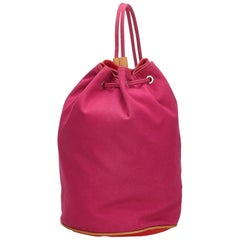 Hermes Pink x Red Canvas Polochon Mimile