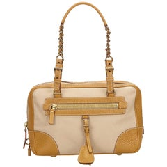 Prada Beige Canvas Shoulder Bag