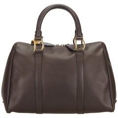 Dior Brown Leather Boston Bag