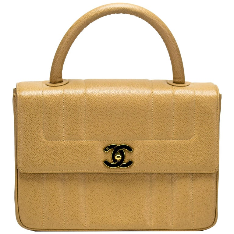 Chanel Vintage Beige Caviar Top Handle Classic Flap Bag Rare