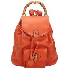 Gucci Orange Bamboo Leather Drawstring Backpack