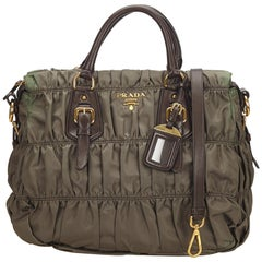 Prada Brown x Khaki Gathered Nylon Satchel