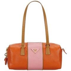 55cd4ee754a3b1 Prada Orange x Pink Perforated Saffiano Fori Striped Bauletto