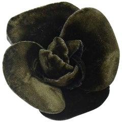 Chanel Dark Green Velvet Camellia  Flower Brooch