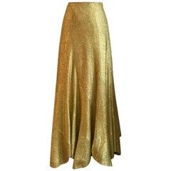 Beverly Paige Vintage Metallic Gold Lurex Maxi Skirt, 1970s