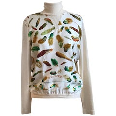 Rare Vintage Hermes Henri de Linares Plumes Print Silk Front Turtleneck Sweater