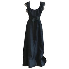 1960s Ferdinando Sarmi Black Maxi Length Ruffle Neck Dress with Ribbon Belt