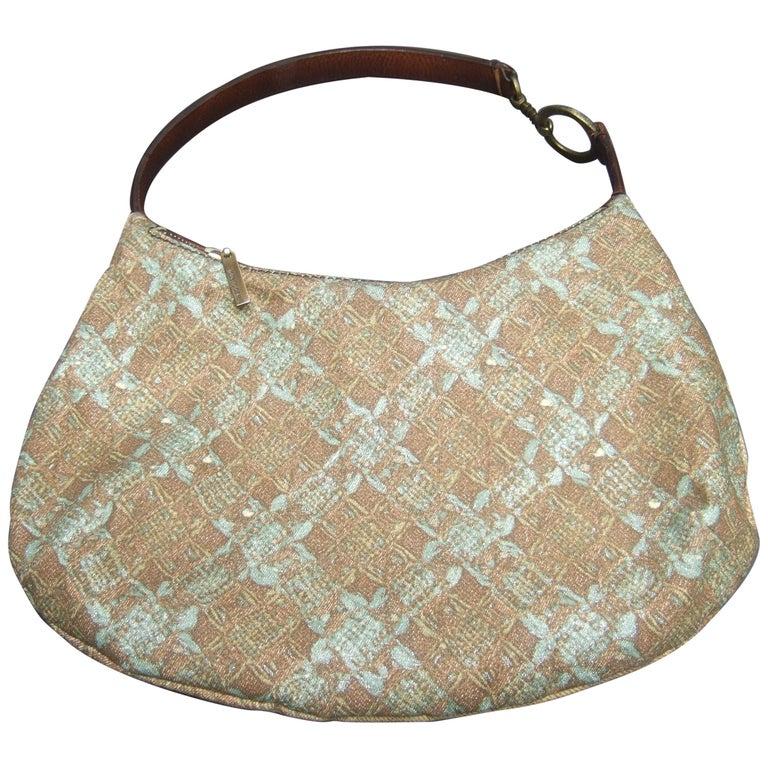 Roberto Cavalli Italian Cloth Print Leather Trim Handbag Circa 1990s