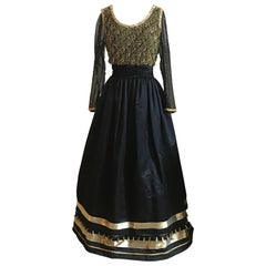 Victoria Royal Black and Gold Embellished Beaded Tassel Gown Long Sleeve