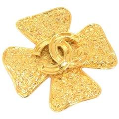 Vintage Chanel Gold-Tone Logo Mania 4 Leaf Clover Motif Brooch
