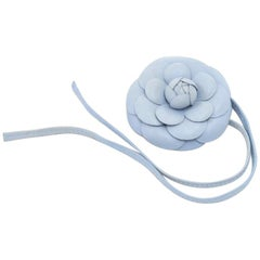 Vintage Chanel Light Blue  Lambskin Leather Camellia Flower Choker / Bracelet