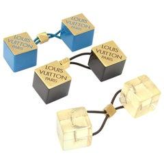 Louis Vuitton Blue, Black & Clear Logo Cube Hair Tie Accessory - 3 Sets
