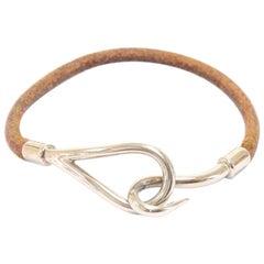 Hermes Brown Leather x Silver Tone Hook Jumbo Bracelet