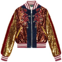 Gucci Embroidered Sequin and Velvet Bomber Jacket