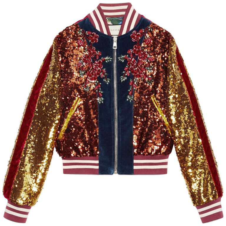0c7e911b3 Gucci Embroidered Sequin and Velvet Bomber Jacket For Sale at 1stdibs