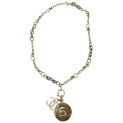 CHANEL Chain Necklace N°5 in Golden and Sequined Resin