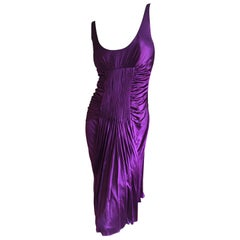 Versace Vintage Pleated Purple Jersey Low Cut Cocktail Dress with Low Cut Back