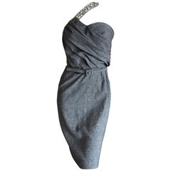 Christian Dior John Galliano Gray Tweed Cocktail Dress with Jewel Shoulder Strap