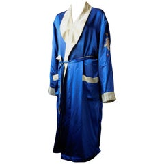 Vintage Blue and Gold Silk Robe with Dragon Embroidery