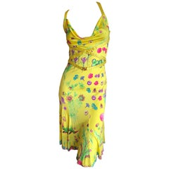 Versace Vintage Yellow Silk Jersey Insect and Flower Print Cocktail Dress