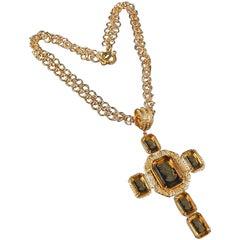 Patrizia Daliana Bronze chain and Murano glass cross pendant with Murano glass