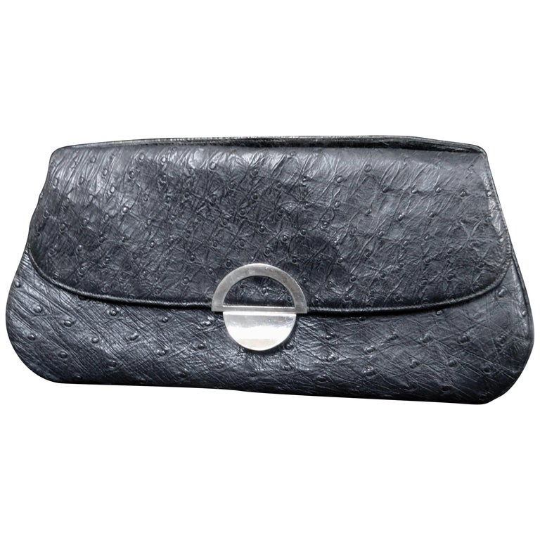 Vintage 1930 French Art Deco Ostrich Skin Handbag