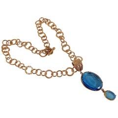 Patrizia Daliana Italian Bronze chain and Blue Murano glass double pendant