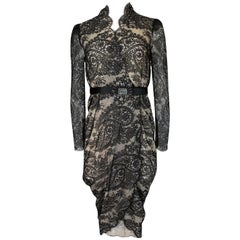 Alexander McQueen Black Scalloped Lace Wrap Dress, Fall 2010