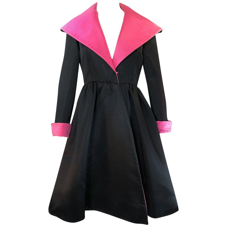 1960s Geoffrey Beene Fitted Pink Collar & Cuffs Black Coat Dress For Sale