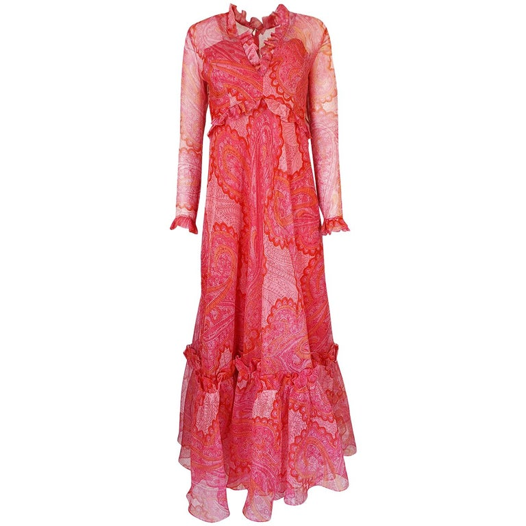 Nina Ricci Silk Voile Pink Paisley Print Ruffle Trim Dress, circa 1976 For Sale