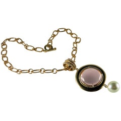 Bronze chain with a Pink Murano glass cabochon and freshwater pearl pendant