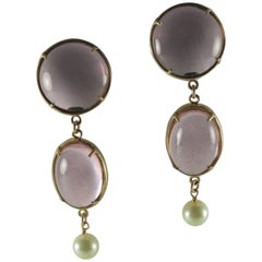 Bronze Earrings with Pink Murano glass cabochon and freshwater pearl.