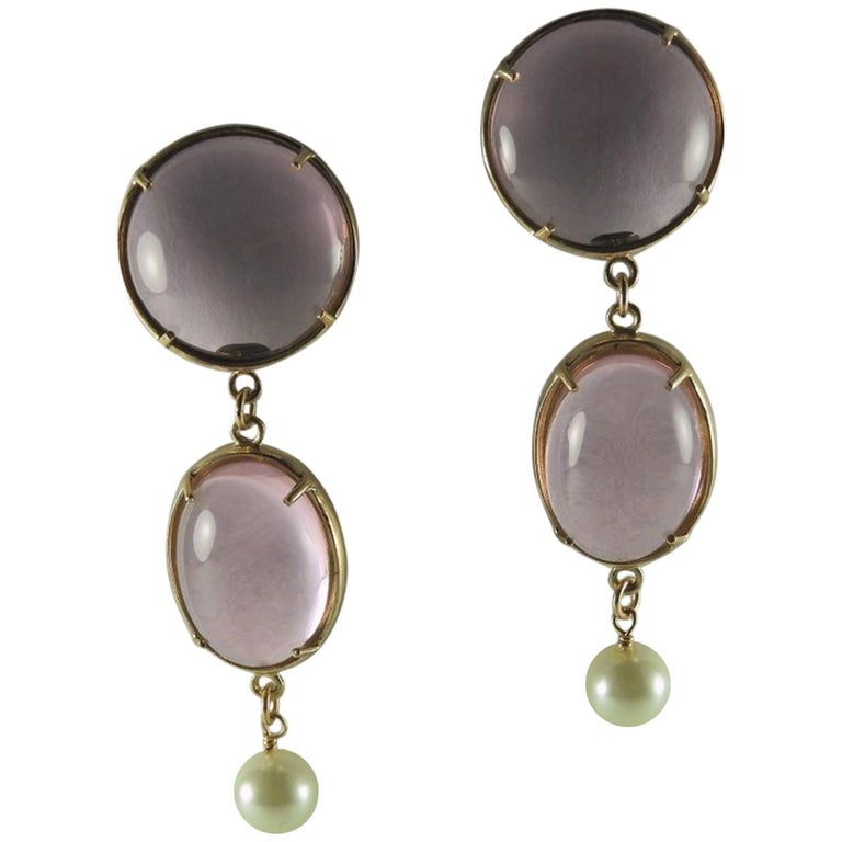 Bronze Earrings with Pink Murano glass cabochon and freshwater pearl. For Sale