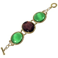 Patrizia Daliana Bronze bracelet with engraved Murano glass and cabochons