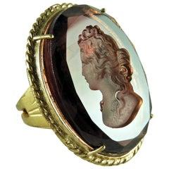 Patrizia Daliana Bronze and engraved Murano glass ring