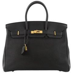 Hermes Birkin Handbag Black Togo with Gold Hardware 35
