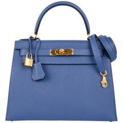 Hermes Kelly 28 Bag Sellier Blue Brighton Epsom Gold Hardware