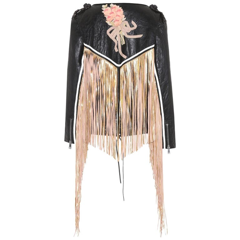 fe7bb8f1b Gucci Fringed Leather Jacket For Sale at 1stdibs