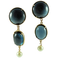 Patrizia Daliana Italian Murano glass cabochon freshwater pearl Bronze earrings